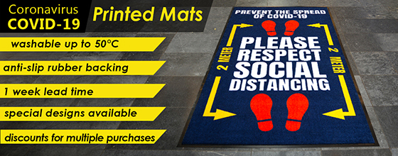 These COVID-19 printed mats are suitable for shops, offices, supermarkets and tills. Please respect social distancing.
